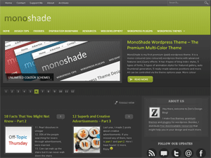 Dark Lime version of monoshade (dark background).
