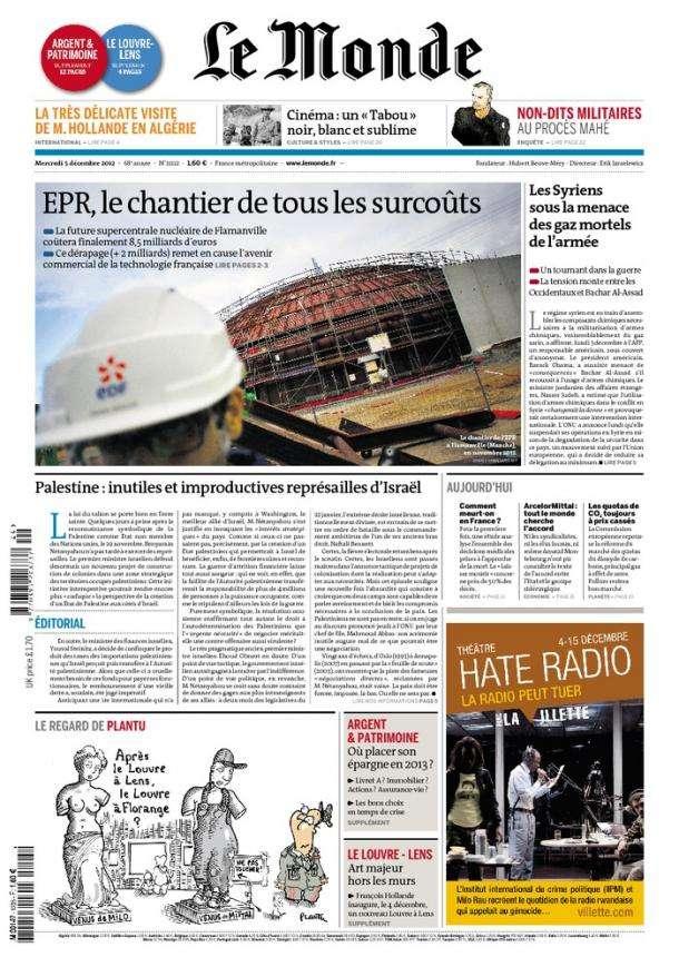 Le Monde et Suppléments Mercredi 05 Décembre 2012