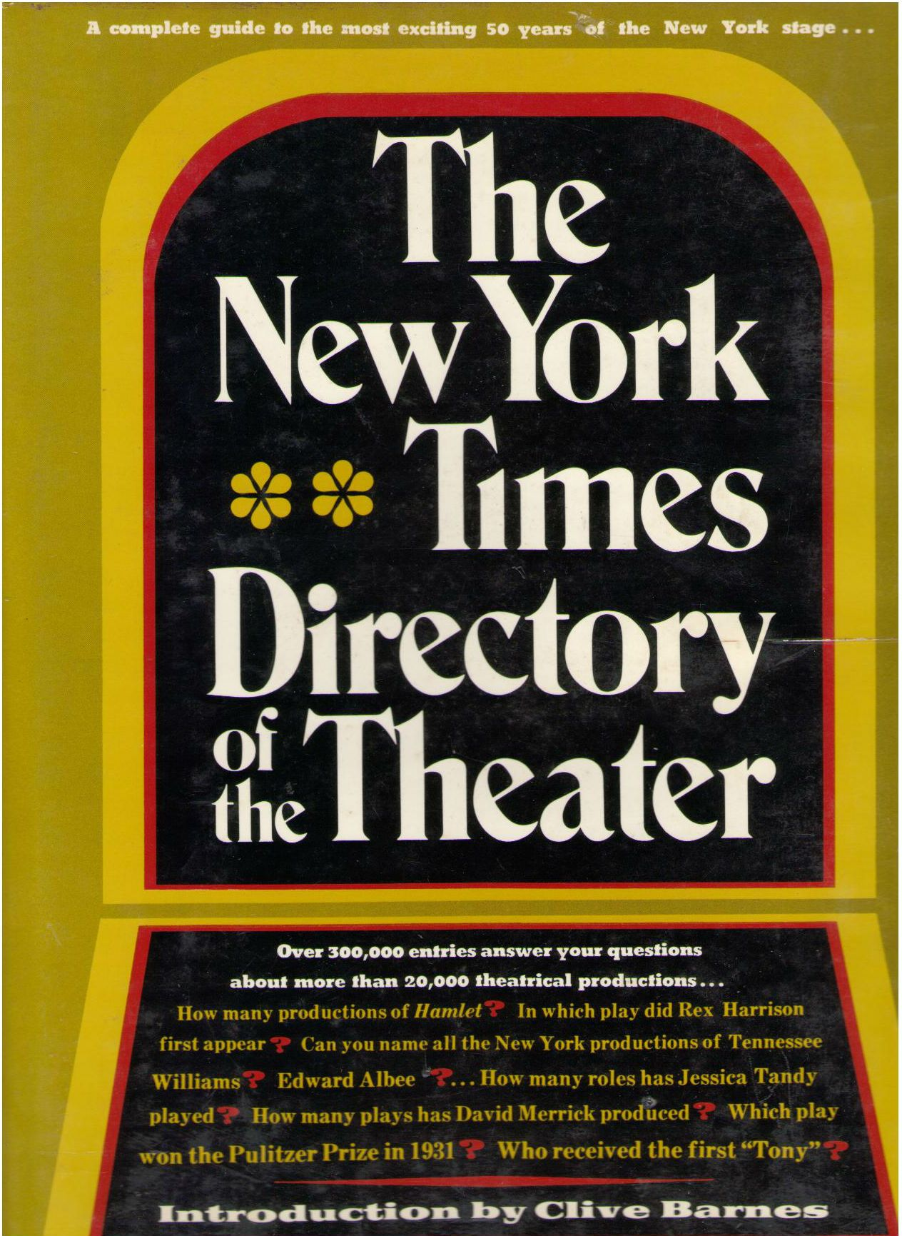 The New York Times Directory of the Theater, barnes, cliver
