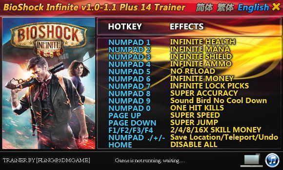 BioShock Infinite 1.0-1.1 +14 Trainer [FliNG]